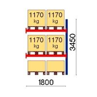 Kuormalavahylly jatko-osa 3450x1800 1170kg/lava,6 EUR lavapaikkaa