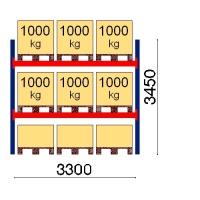 Kuormalavahylly perusosa 3450x3300 1000kg/lava,9 FIN lavapaikkaa