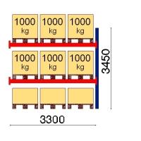 Kuormalavahylly jatko-osa 3450x3300 1000kg/lava,9 FIN lavapaikkaa
