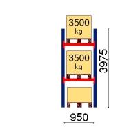 Kuormalavahylly perusosa 3975x950 3500kg/lava, 3 EUR lavapaikkaa