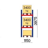 Kuormalavahylly perusosa 3975x1150 3400kg/lava,3 FIN lavapaikkaa