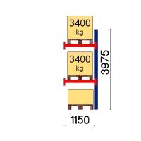 Kuormalavahylly jatko-osa 3975x1150 3400kg/lava,3 FIN lavapaikkaa