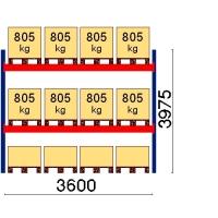 Kuormalavahylly perusosa 3975x3600 805kg/lava,12 EUR lavapaikkaa