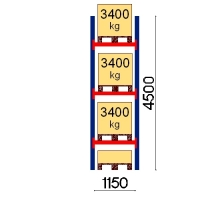 Kuormalavahylly perusosa 4500x1150 3400kg/lava,4 FIN lavapaikkaa