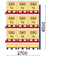 Kuormalavahylly jatko-osa 4500x2700 580kg/lava,12 EUR lavapaikkaa