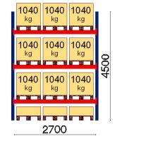 Kuormalavahylly perusosa 4500x2700 1041kg/lava,12 EUR lavapaikkaa