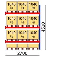 Kuormalavahylly jatko-osa 4500x2700 1041kg/lava,12 EUR lavapaikkaa