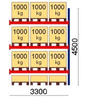 Kuormalavahylly jatko-osa 4500x3300 1000kg/lava,12 FIN lavapaikkaa