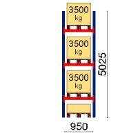 Kuormalavahylly perusosa 5025x950 3500kg/lava,4 EUR lavapaikkaa