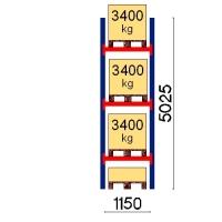 Kuormalavahylly perusosa 5025x1150 3400kg/lava,4 FIN lavapaikkaa