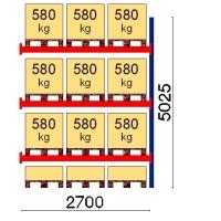 Kuormalavahylly jatko-osa 5025x2700 580kg/lava,12 EUR lavapaikkaa
