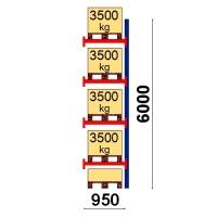 Kuormalavahylly jatko-osa 6000x950 3500kg/lava,5 EUR lavapaikkaa