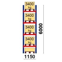 Kuormalavahylly perusosa 6000x1150 3400kg/lava,5 FIN lavapaikkaa