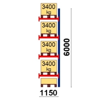 Kuormalavahylly jatko-osa 6000x1150 3400kg/lava,5 FIN lavapaikkaa