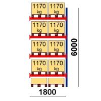 Kuormalavahylly jatko-osa 6000x1800 1170kg/lava,10 EUR lavapaikkaa