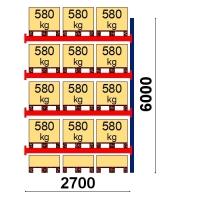 Kuormalavahylly jatko-osa 6000x2700 580kg/lava,15 EUR lavapaikkaa