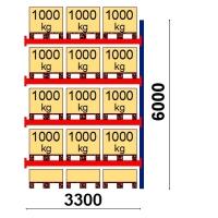 Kuormalavahylly jatko-osa 6000x3300 1000kg/lava,15 FIN lavapaikkaa