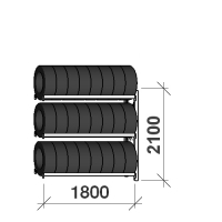 Rengashylly jatko-osa 2100x1800x500, 3 tasoa, 480kg/taso