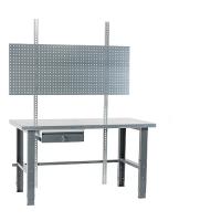 Työpiste 2000x800 terästaso, maalatut jalat, pöytälaatikko, reikälevy