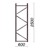 Kevytorsihyllyn pylväselementti 2500x600 mm