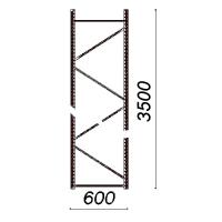 Kevytorsihyllyn pylväselementti 3500x600 mm