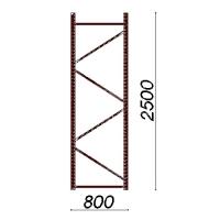 Kevytorsihyllyn pylväselementti 2500x800 mm