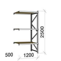 Metallihylly jatko-osa 2500x1200x500 600kg/hyllytaso,3 tasoa lastulevytasoilla