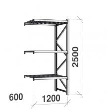 Varastohylly jatko-osa 2500x1200x600 600kg/hyllytaso,3 tasoa peltitasoilla