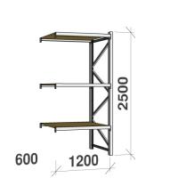 Metallihylly jatko-osa 2500x1200x600 600kg/hyllytaso,3 tasoa lastulevytasoilla