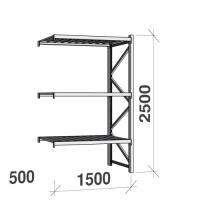 Metallihylly jatko-osa 2500x1500x500 600kg/hyllytaso,3 tasoa peltitasoilla