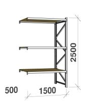 Metallihylly jatko-osa 2500x1500x500 600kg/hyllytaso,3 tasoa lastulevytasoilla