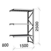 Metallihylly jatko-osa 2500x1500x800 600kg/hyllytaso,3 tasoa peltitasoilla