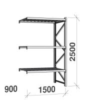 Metallihylly jatko-osa 2500x1500x900 600kg/hyllytaso,3 tasoa peltitasoilla