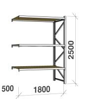 Metallihylly jatko-osa 2500x1800x500 480kg/hyllytaso,3 tasoa lastulevytasoilla