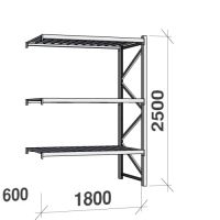 Metallihylly jatko-osa 2500x1800x600 480kg/hyllytaso,3 tasoa peltit
