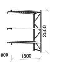 Metallihylly jatko-osa 2500x1800x800 480kg/hyllytaso,3 tasoa peltitasoilla