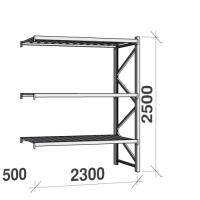 Metallihylly jatko-osa 2500x2300x500 350kg/hyllytaso,3 tasoa peltitasoilla