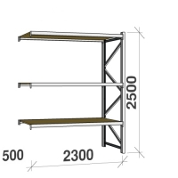 Metallihylly jatko-osa 2500x2300x500 350kg/hyllytaso,3 tasoa lastulevytasoilla