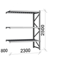 Metallihylly jatko-osa 2500x2300x800 350kg/hyllytaso,3 tasoa peltitasoilla