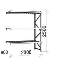 Metallihylly jatko-osa 2500x2300x900 350kg/hyllytaso,3 tasoa peltitasoilla