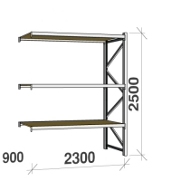 Metallihylly jatko-osa 2500x2300x900 350kg/hyllytaso,3 tasoa lastulevytasoilla