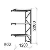Metallihylly jatko-osa 2200x1200x900 600kg/hyllytaso,3 tasoa peltitasoilla