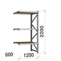 Metallihylly jatko-osa 2200x1200x600 600kg/hyllytaso,3 tasoa lastulevytasoilla