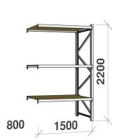 Metallihylly jatko-osa 2200x1500x800 600kg/hyllytaso,3 tasoa lastulevytasoilla