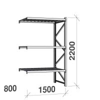Metallihylly jatko-osa 2200x1500x800 600kg/hyllytaso,3 tasoa peltitasoilla