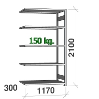 Varastohylly jatko-osa 2100x1170x300 150kg/hyllytaso,5 tasoa
