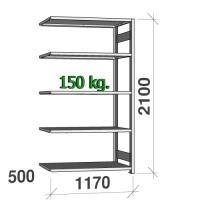 Varastohylly jatko-osa 2100x1170x500 150kg/hyllytaso,5 tasoa
