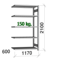 Varastohylly jatko-osa 2100x1170x600 150kg/hyllytaso,5 tasoa