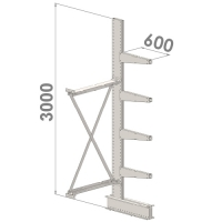 Ulokehylly jatko-osa 3000x1500x600,5 tasoa
