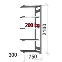 Varastohylly jatko-osa 2100x750x300 200kg/hyllytaso,5 tasoa